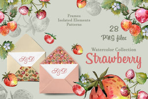 Tasty juicy strawberry watercolor png Digital
