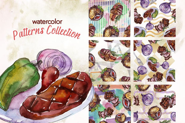 Tasty Meat Steak Watercolor png Digital