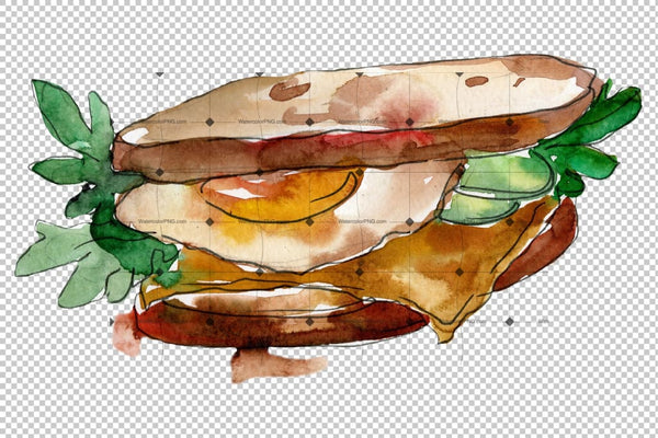 Tasty Sandwich Png Watercolor Set Digital