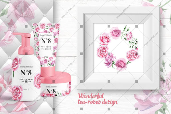 Tea-Rose Png Watercolor Set Digital