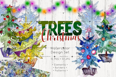 Trees Christmas Png Watercolor Set Digital