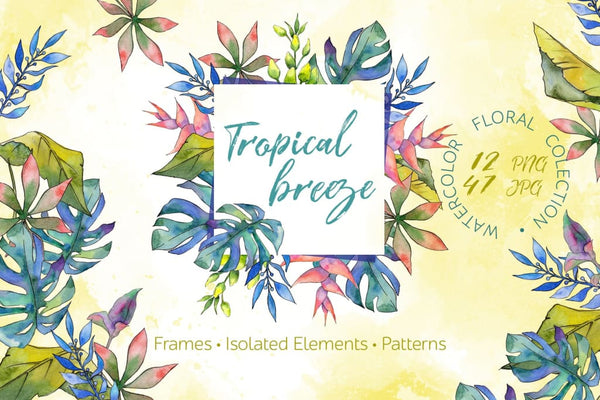 Tropical breeze Watercolor png Digital