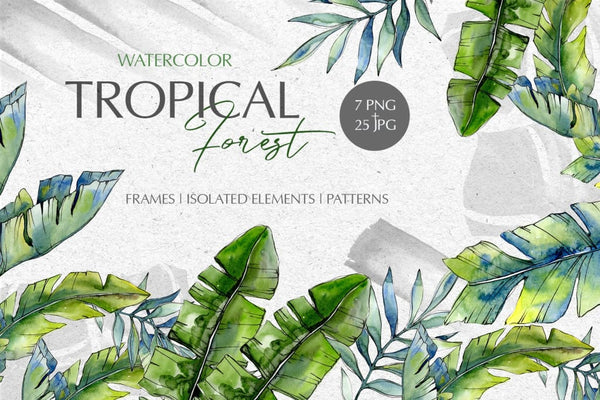 Tropical forest Watercolor png Digital