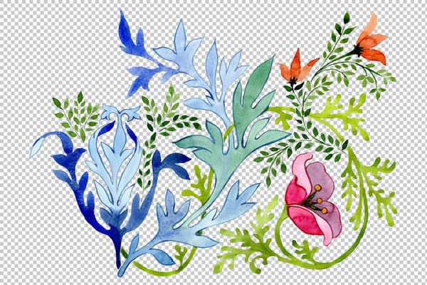 Ukrainian floral ornament watercolor png Flower