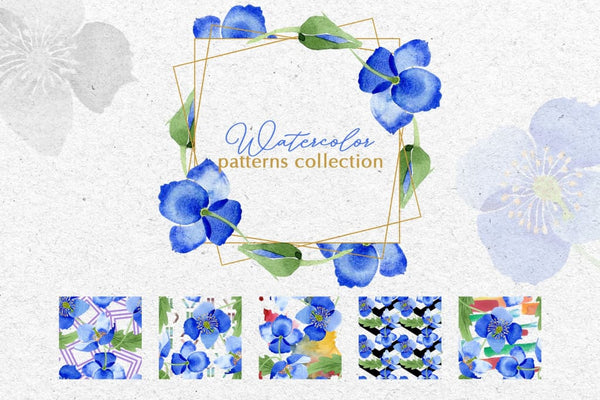 Ultramarine blue Poppies Watercolor png Digital