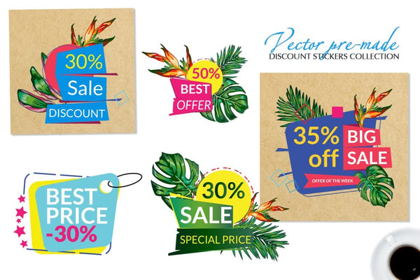 Vector Set of Price Labels Digital