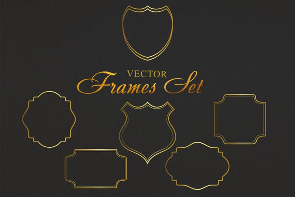 Vintage frames for monograms gold Flower