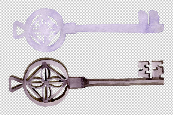 Vintage key magic watercolor png Flower