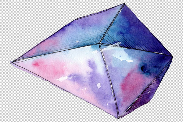 Violet crystals Watercolor png Flower