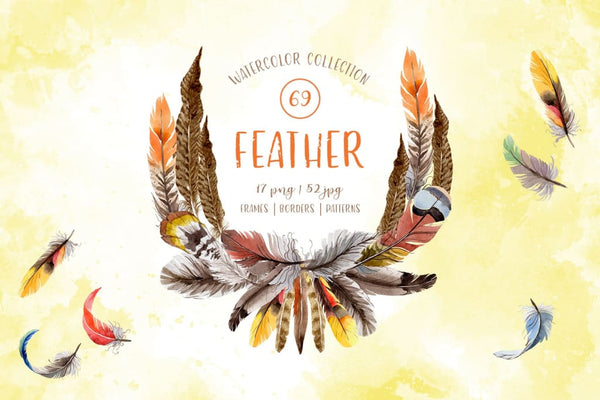 Watercolor bird feather Digital