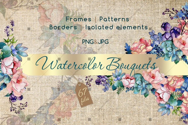 Watercolor Bouquet Png Flower Set Digital