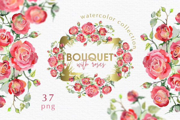 Watercolor Bouquet with red roses PNG Digital