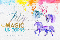 Watercolor Bright Unicorn Png Set Digital