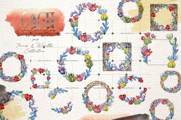 Watercolor Cactus Png Set Digital