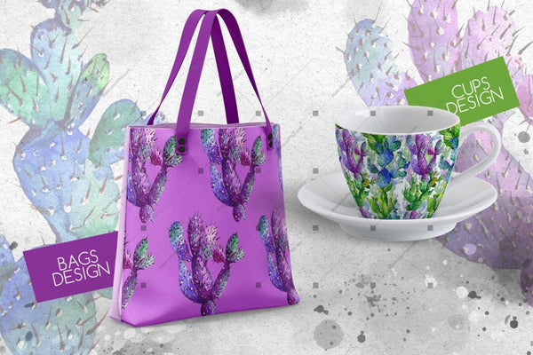 Vodene boje kaktusa Png Wildflower Set Digitalni