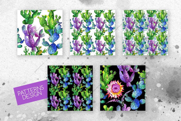 Watercolor Cactuses Png Wildflower Set Digital