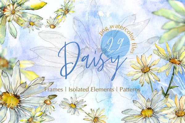 Watercolor Daisy PNG set Digital
