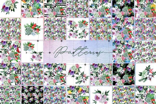 Watercolor Diversity Of 48 Flower Bouquets Png Drawings Digital