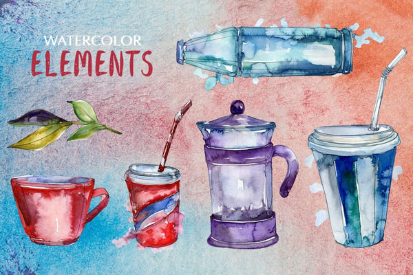 Watercolor Drinks. PNG set Digital