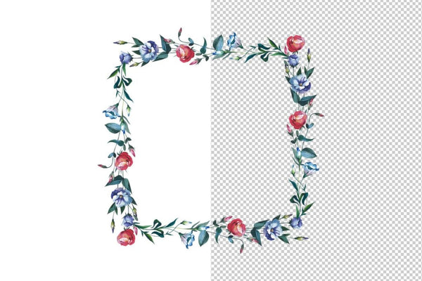 Watercolor Flower Wreath PNG set Digital
