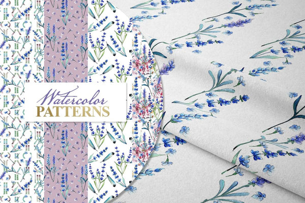 Watercolor lavender PNG JPG set Digital