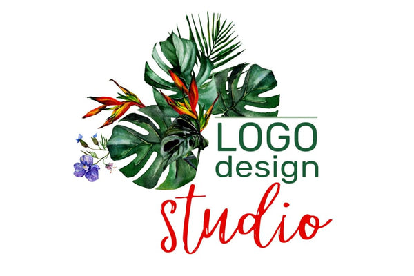 Watercolor LOGO in tropical style Digital