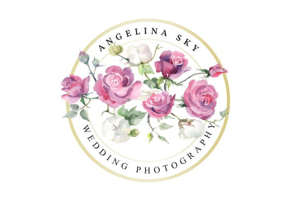 Watercolor LOGO with pink roses and cotton Digital