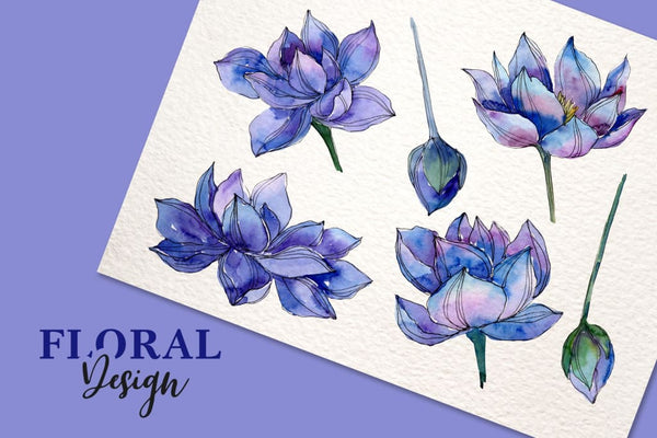 Watercolor Lotus PNG set Digital