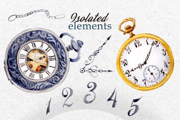 Watercolor OLD CLOCK PNG set Digital