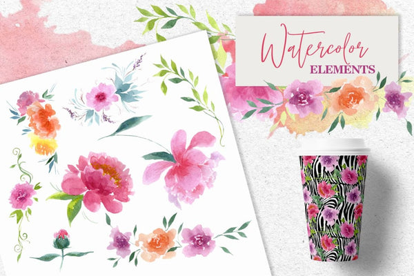Watercolor pink peonies PNG collection Digital