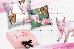 Watercolor Pink Pig Png Set Digital