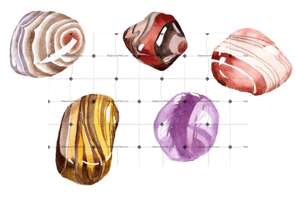 Watercolor Semi Precious Stones Png Set Digital