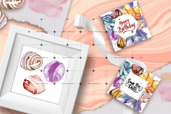 Watercolor Semiprecious Stone Png Set Digital