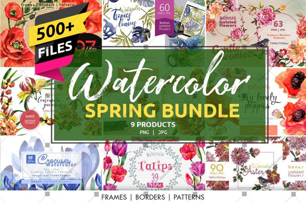 Bundle Spring Watercolor 500 + Files Budle