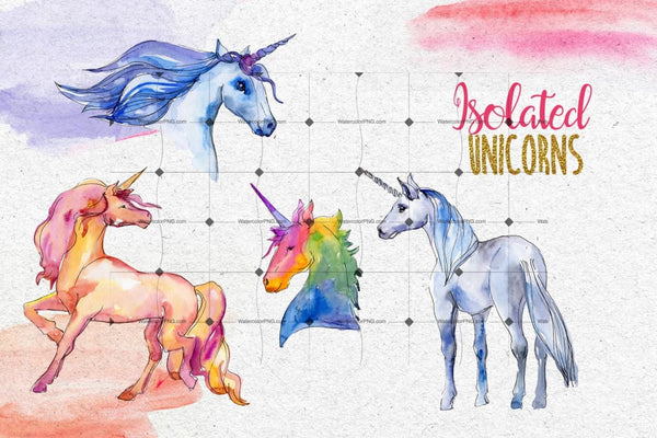 Watercolor Unicorn Png Set Digital