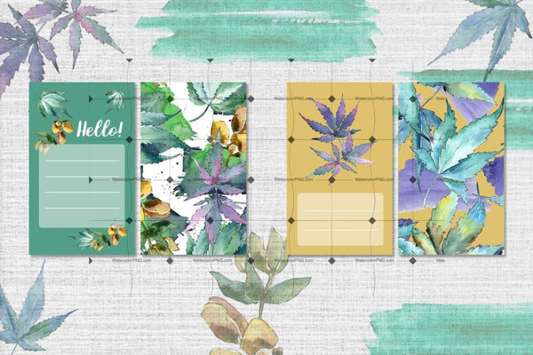 Watercolor Weed Leaves Png Set Digital