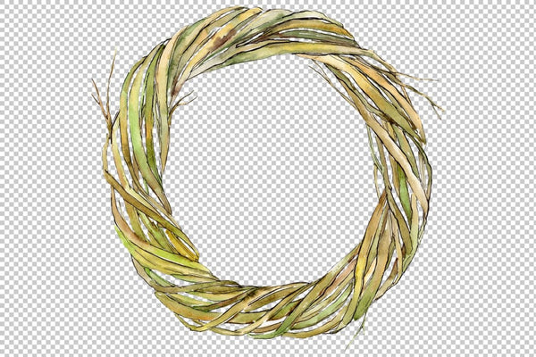 Watercolor wreath of branches png Flower