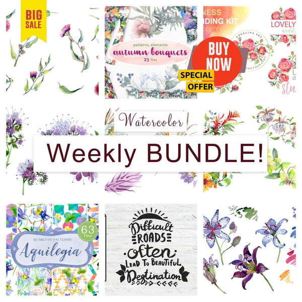 Weekly watercolor bundle 27/09/19 Bundle