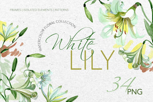 White Lily Watercolor png Digital