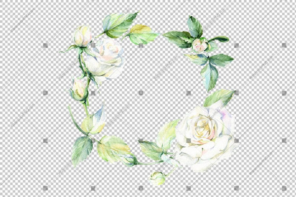 White Rose Wreath Frame Flowers Watercolor Png Design