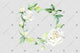 White rose wreath frame flowers watercolor PNG