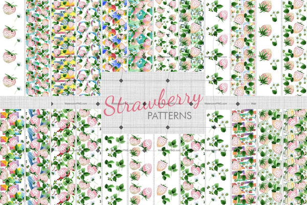 White Strawberry Png Watercolor Fruit Set Digital
