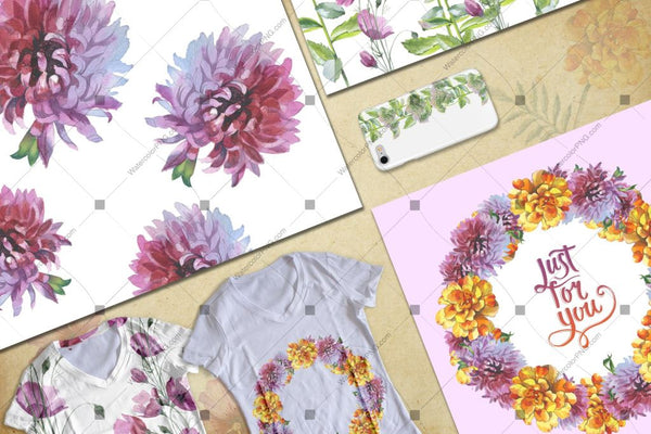Wildflower Png Watercolor Set Digital