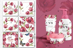 Wildflower Red Tulips Png Watercolor Set Digital