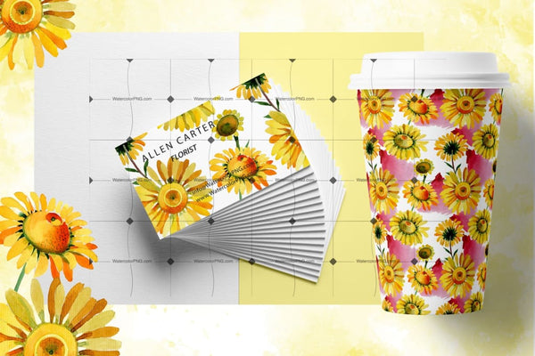 Wildflower Yellow Chamomile Png Watercolor Set Digital