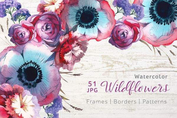 Wildflowers JPG watercolor set Digital