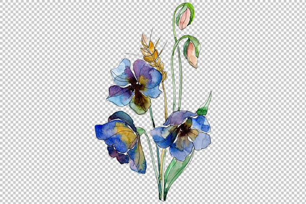 Wildflowers World of Wonders Watercolor png Digital
