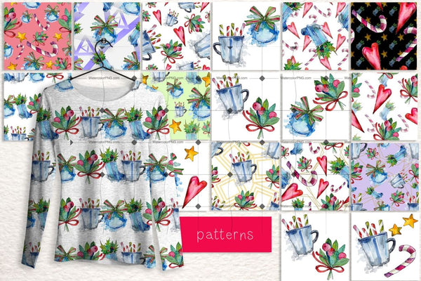 Winter Holiday Png Watercolor Set Digital