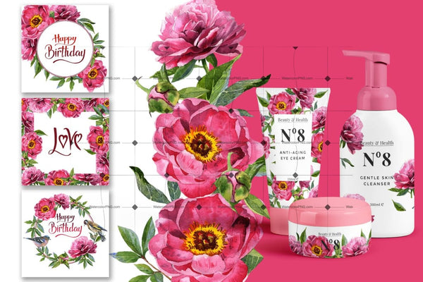 Wonderful Peonies Png Watercolor Set Digital