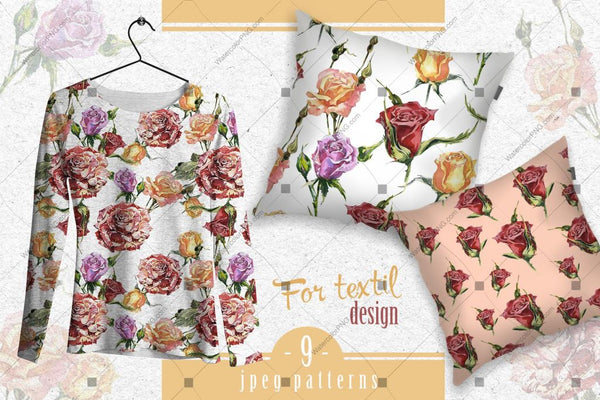 Wonderful Rose Garden Png Watercolor Set Digital